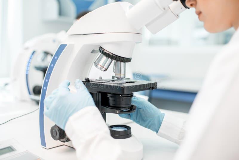 Mikroskop med provprövkopian royaltyfri bild