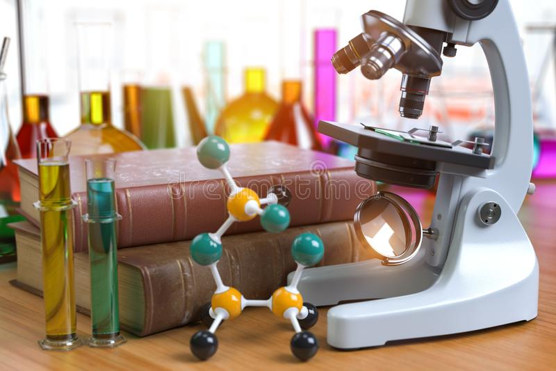 Mikroskop mit alboratory equipmente Flaschen und Phiolen Chemie, biotecnology Ausbildungskonzept stock abbildung