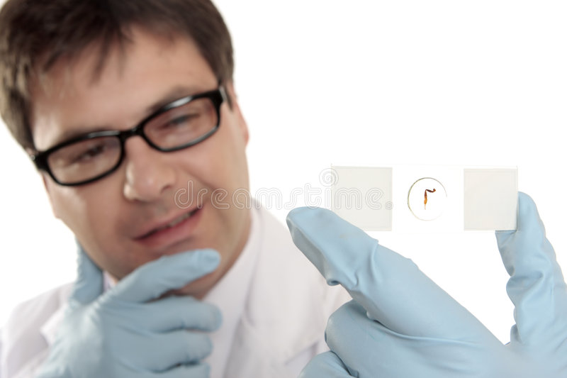 mikroskop nad naukowa obruszenia główkowaniem obrazy royalty free