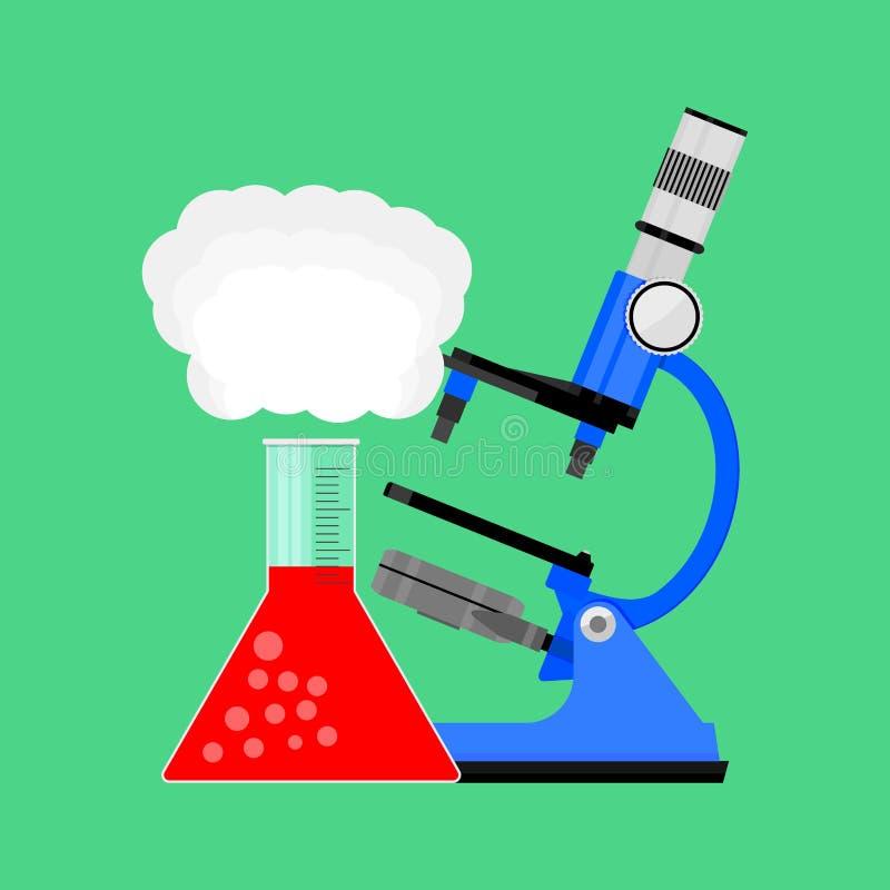 Mikroskop und Birne der wissenschaftlichen Forschung lizenzfreie abbildung