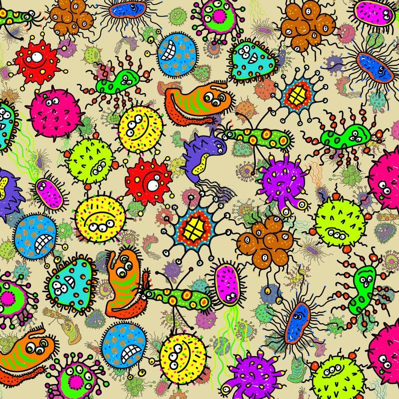 Mikroskopijnego Doodle zarazka Bakteryjny tło ilustracji
