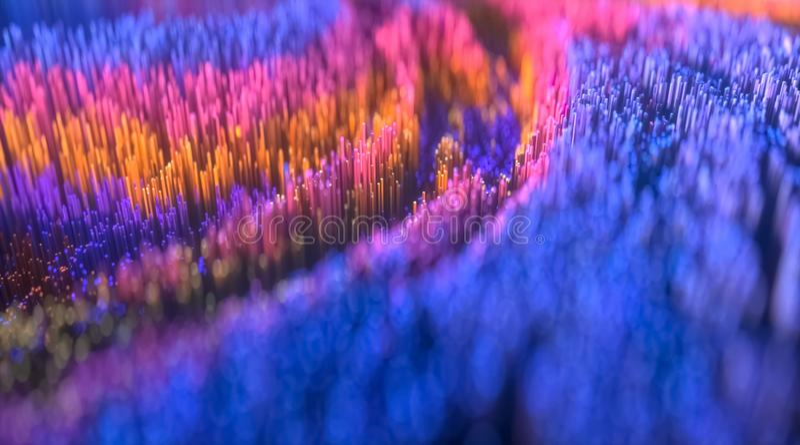 Mikroskopijny zbliżenia pojęcie mali sześciany z wibrującymi błękit menchiami barwi ilustracja wektor