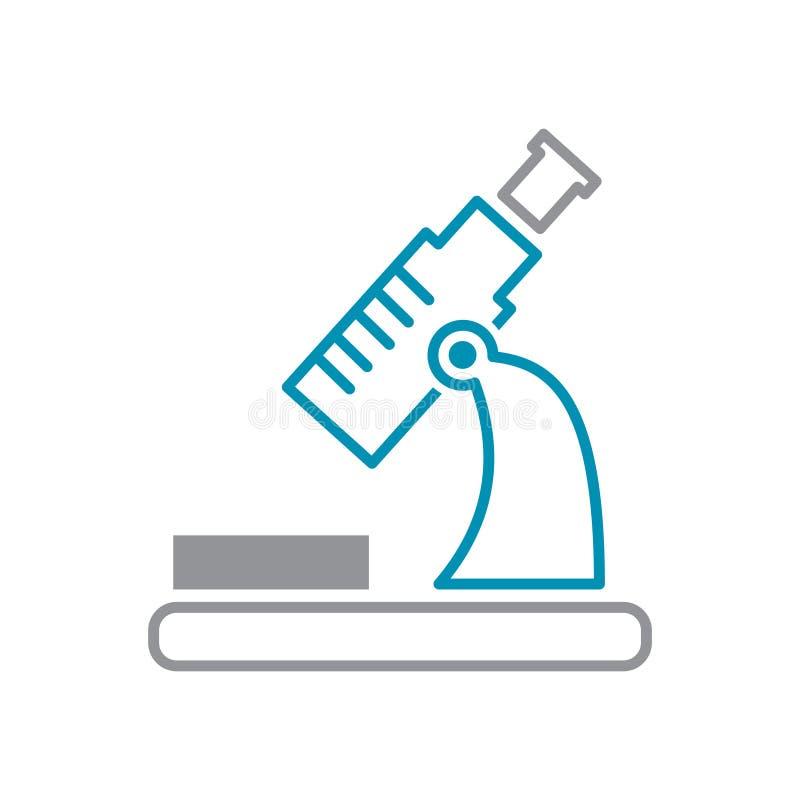 Mikroskopikone grau und blau auf weißem Hintergrund für Grafik und Webdesign, modernes einfaches Vektorzeichen Hintergrund der bl lizenzfreie abbildung