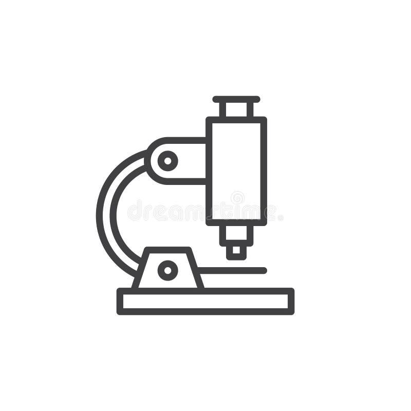 Mikroskoplinie Ikone, Entwurfsvektorzeichen, lineares Artpiktogramm lokalisiert auf Weiß lizenzfreie abbildung