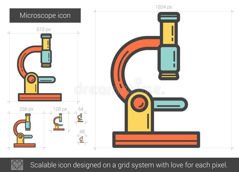 Mikroskoplinje symbol stock illustrationer