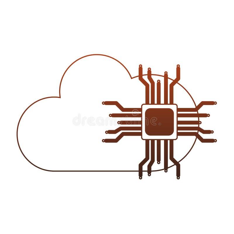 Mikroukład i chmura oblicza czerwone linie royalty ilustracja