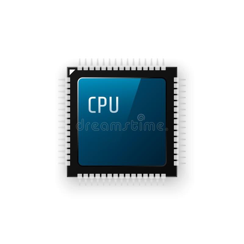 Mikroukładu procesor na białym tle wektor ilustracja wektor
