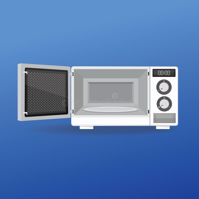 Mikrovågsugn med öppen dörr vektor illustrationer