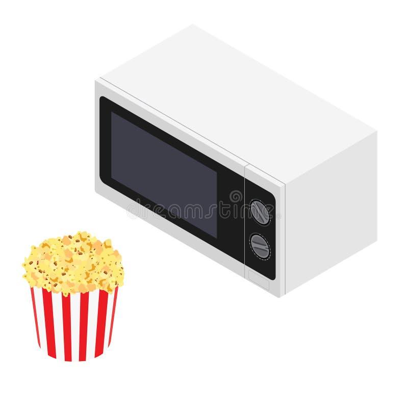 Mikrovågugn och popcorn royaltyfri illustrationer