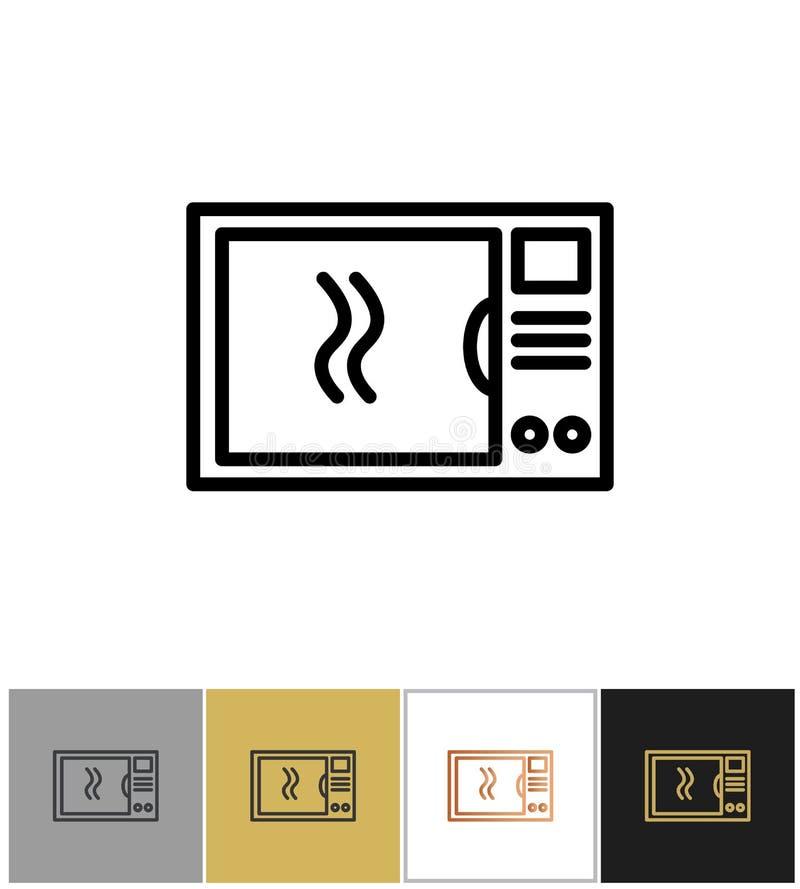 Mikrowellenikone, Haushaltslebensmittelmahlzeit, die Symbole, Hauptküchengeschirrgeräte kocht vektor abbildung