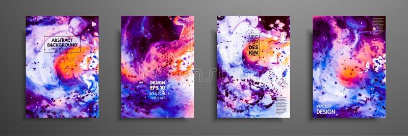 Mikstura akrylowe farby Ciecz marmurowa tekstura Rzadkopłynna sztuka Obowiązujący dla projekt pokrywy, prezentacja, zaproszenie zdjęcie stock