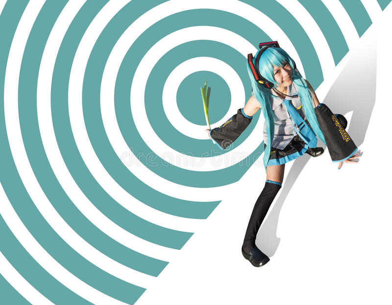 Miku Hatsune cosplay. On abstract background stock photography
