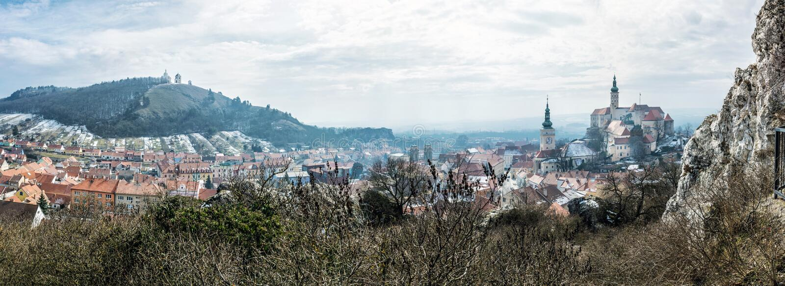 Mikulov with castle, holy hill and old town centre, Czech republic stock photography