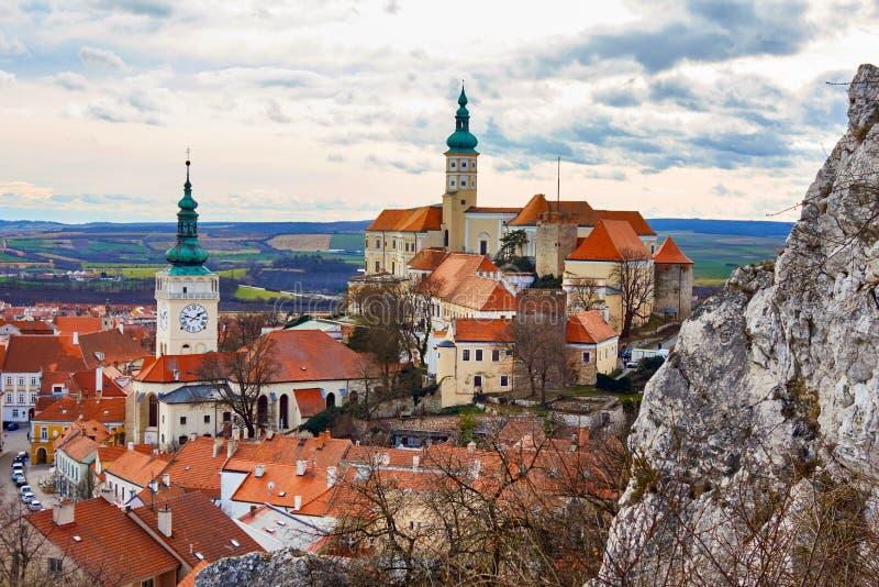Mikulov chateau, the town of Mikulov, South Moravia, Czech republic stock photos
