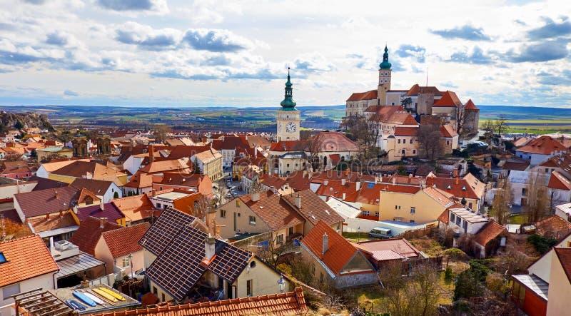 Mikulov chateau, the town of Mikulov, South Moravia, Czech republic stock photo