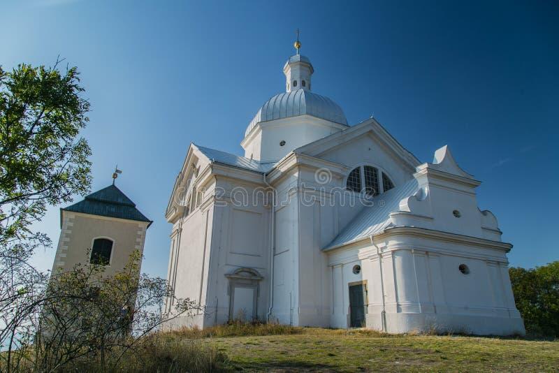 Holly Hill with white building of Saint Sebastians Chapel. Mikulov, Czech Republic / South Moravia - October 15 2016: Holly Hill with white building of Saint stock image