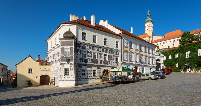 Historic old town of Mikulov, South Moravia, Czech Republic. MIKULOV, SOUTH MORAVIAN REGION, CZECH REPUBLIC - 3 AUGUST 2019: view of the main square with royalty free stock photo