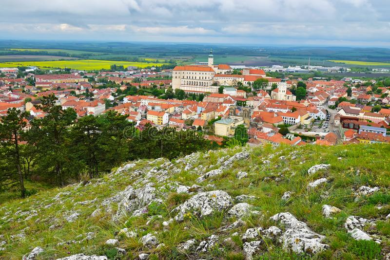 Mikulov town in Moravia. View of a beautiful town of Mikulov in south of Moravia in summer landscape, Czech Republic royalty free stock photography