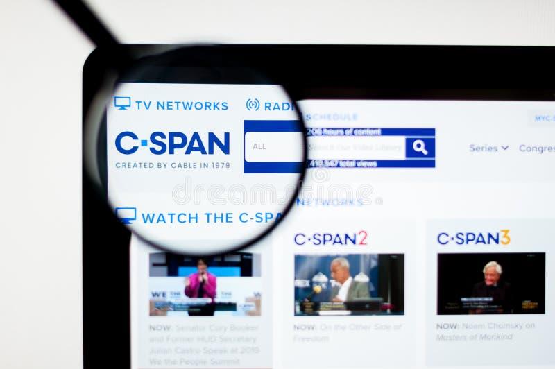 Milán, Italia - 20 de agosto de 2018: Kiev, Ucrania - 6 de abril de 2019: Logotipo del CSPAN visible libre illustration