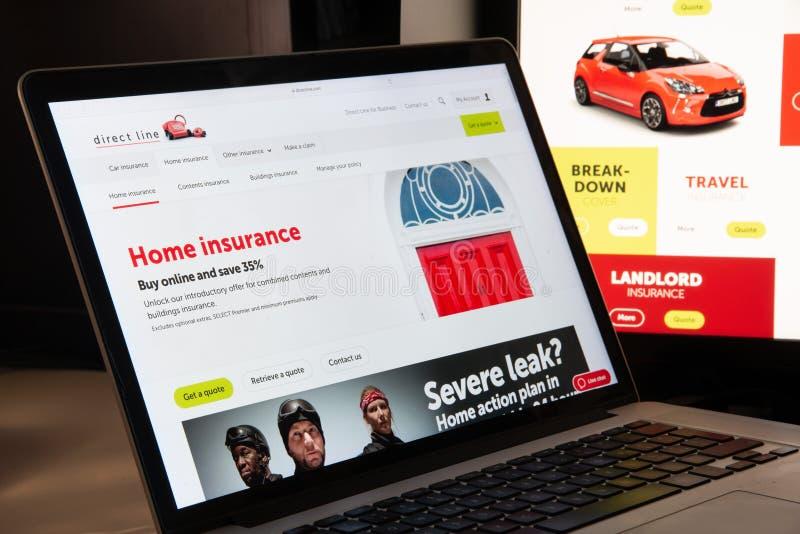 Milán, Italia - 15 de agosto de 2018: Línea directa sitio web del seguro ho fotografía de archivo
