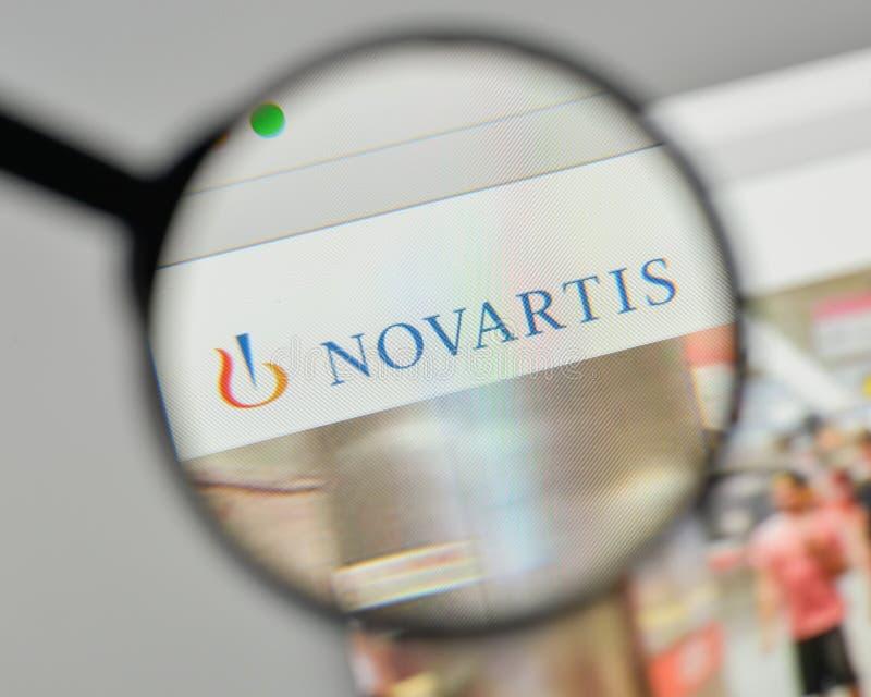 Milán, Italia - 1 de noviembre de 2017: Logotipo de Novartis en el sitio web ho fotos de archivo libres de regalías