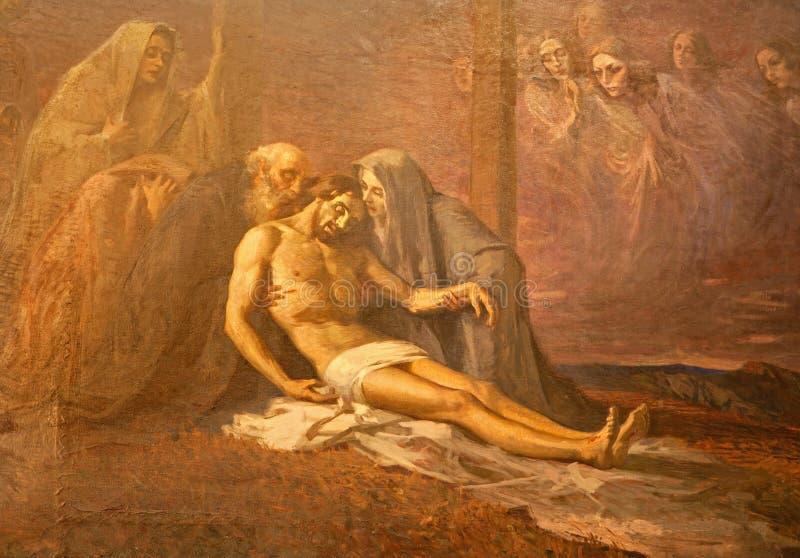 MILÁN, ITALIA - 17 DE SEPTIEMBRE DE 2011: La pintura de la deposición de la cruz en la iglesia de St Mark del artista desconocido fotos de archivo