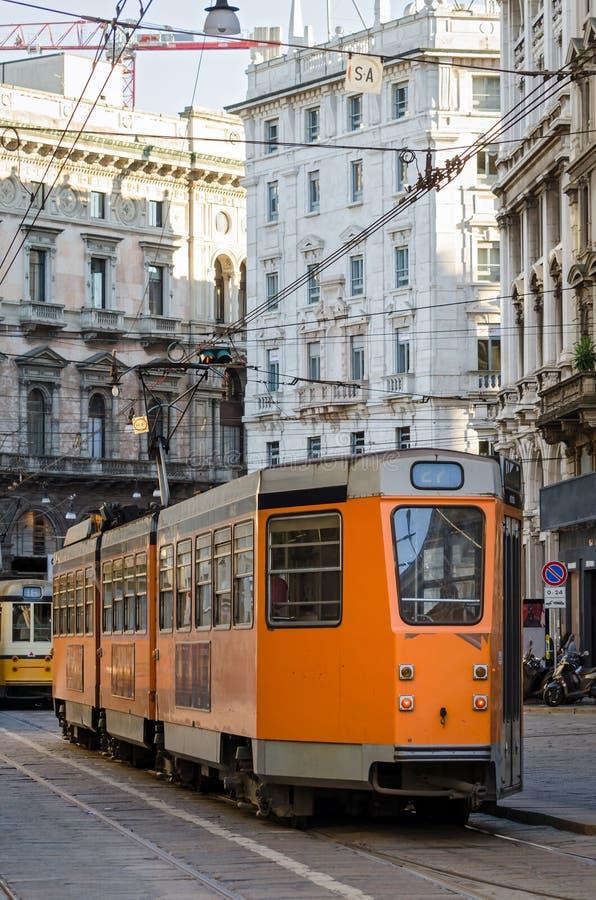 Milán (Milano), tranvía vieja fotografía de archivo libre de regalías