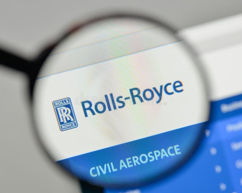 Milão, Itália - 1º de novembro de 2017: Logotipo o de Rolls Royce Aerospaceand foto de stock royalty free