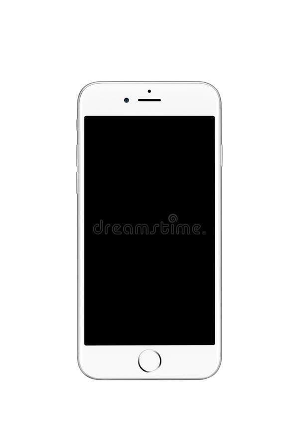 Milão, Itália - 19 de setembro de 2016: Vista dianteira do iPhone de prata 7 de Apple fotos de stock royalty free