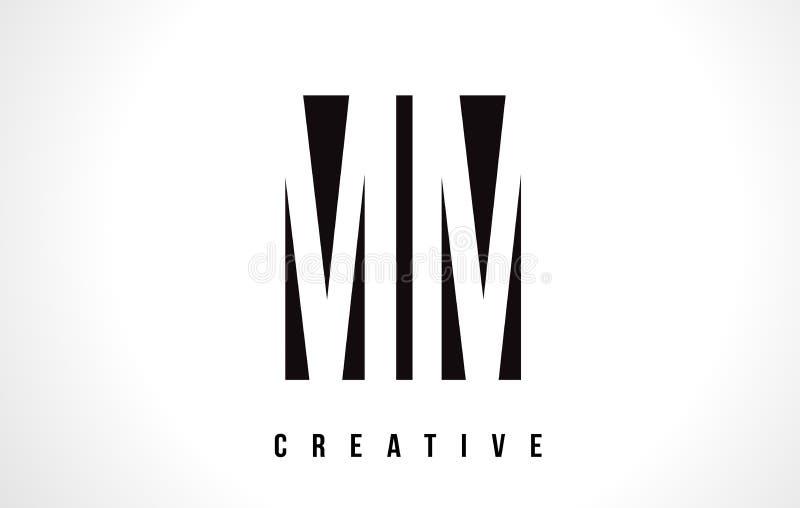 Milímetro M M White Letter Logo Design com quadrado preto ilustração stock