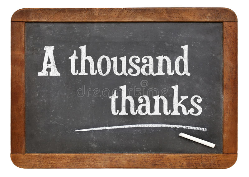 Mil agradecimentos no quadro-negro foto de stock