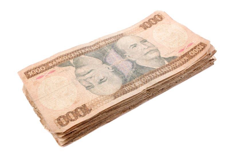 Mil cruzeiros pile - Old Brazilian bill stock photo