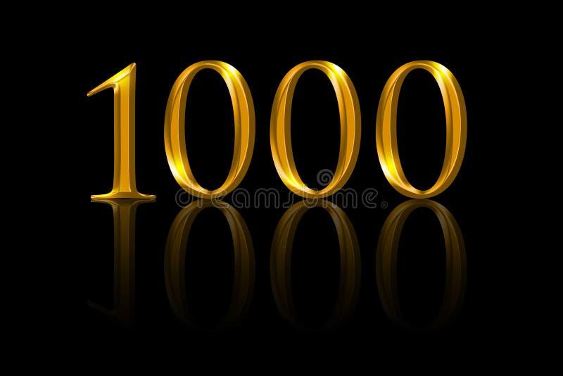 Mil números do ouro no fundo preto ilustração stock