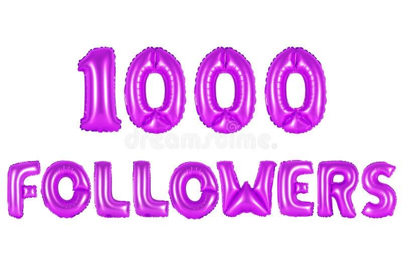 Mil seguidores, cor roxa fotografia de stock