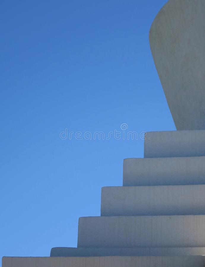 Stupa Space, form and elements. Side of a stupa where the elements of space and form are balanced. The blue sky represents Space in Tibetan Buddhism while the royalty free stock photography