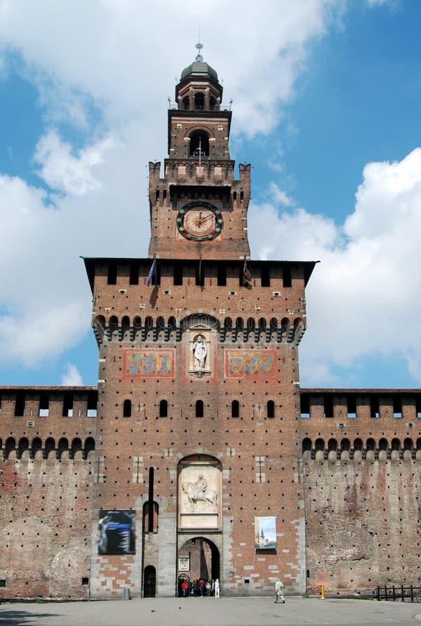 Milaan - Castello Sforzesco, Kasteel Sforza stock foto