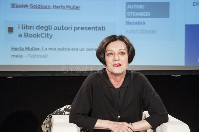 Milaan, Herta Muller aan bookcity royalty-vrije stock foto's