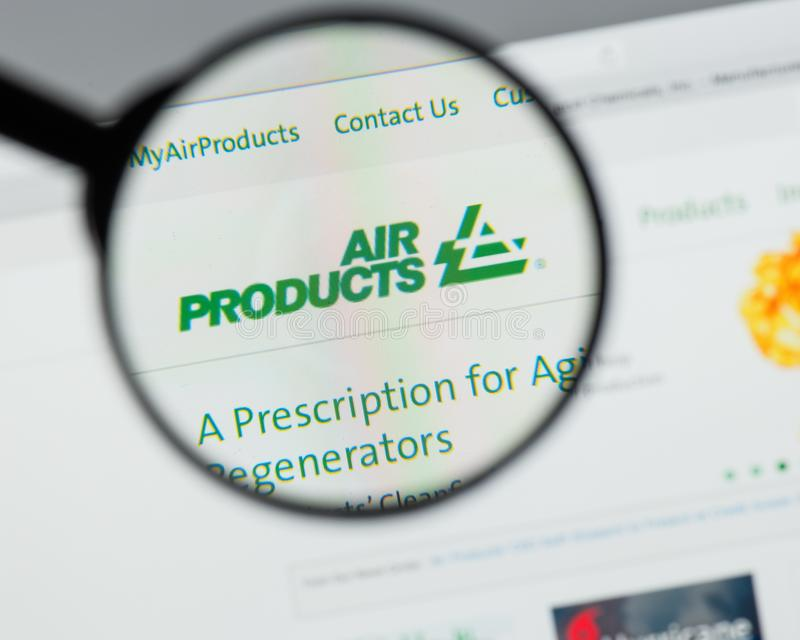 Milaan, Italië - Augustus 10, 2017: Air Products & Chemicals websit royalty-vrije stock foto