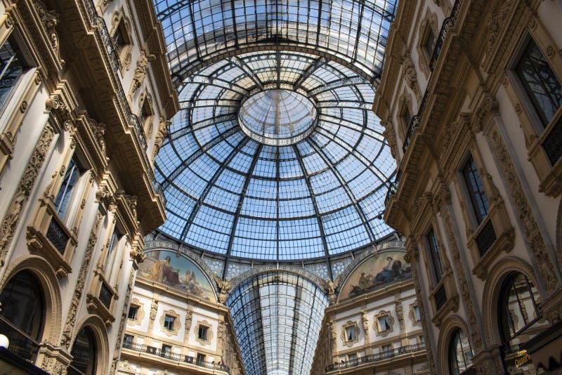 Milaan, Italië, Europa, Galerij, Galleria Vittorio Emanuele II, het winkelen, wandelgalerij, architectuur, plafond, Victor Emmanu stock fotografie