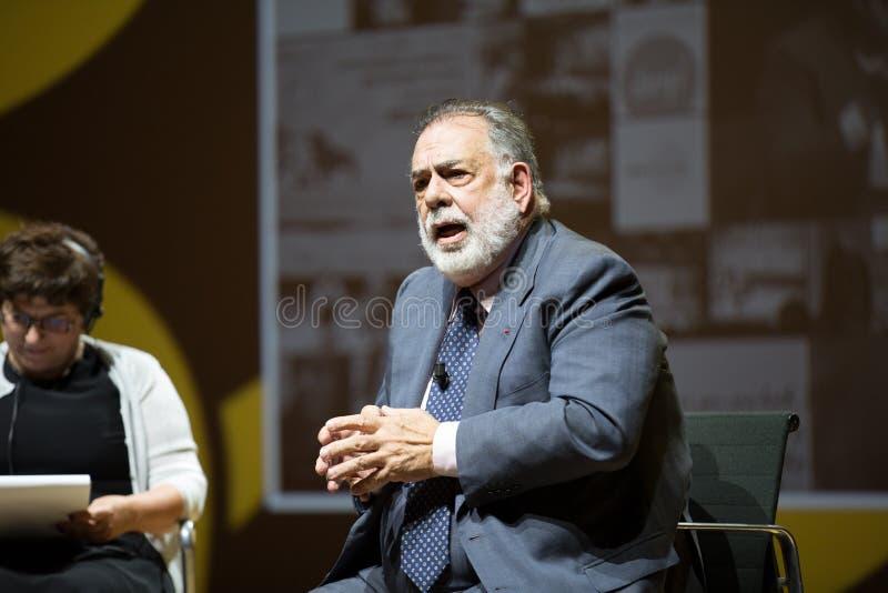 MILAAN, ITALIË 26 10 2015 Francis Ford Copolla op de media conferentie tijdens EXPO Milaan 2015 stock fotografie