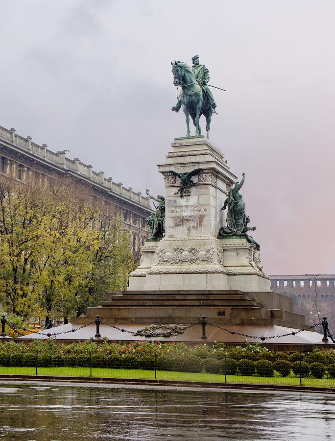 Milaan, Italië, Giuseppe Garibaldi-monument royalty-vrije stock afbeeldingen