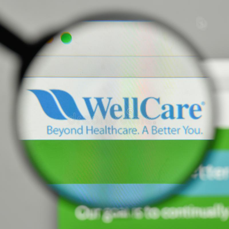 Milaan, Italië - November 1, 2017: De Plannenembleem van de WellCaregezondheid op t stock foto