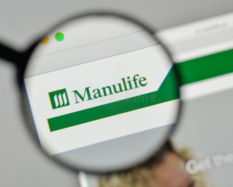 Milaan, Italië - November 1, 2017: Manulife Financieel embleem op stock fotografie
