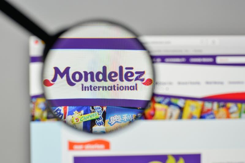 Milaan, Italië - November 1, 2017: Mondelez Internationaal embleem  royalty-vrije stock foto