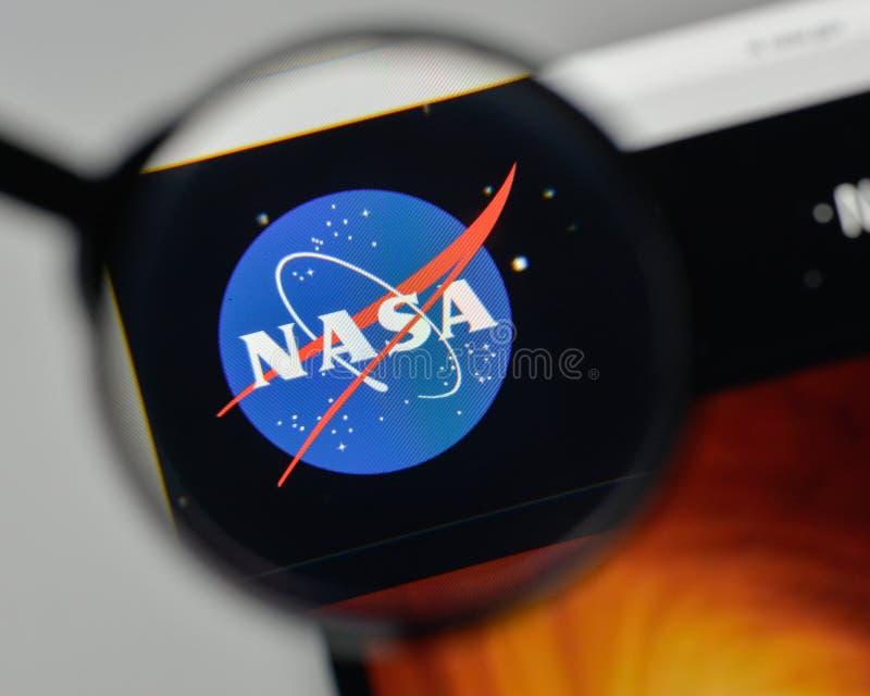 Milaan, Italië - November 1, 2017: NASA-embleem op websitehomepa royalty-vrije stock afbeelding