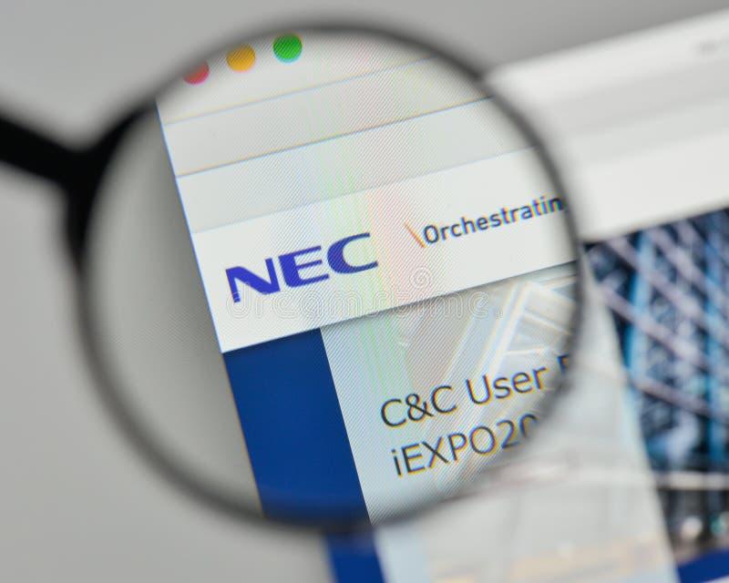 Milaan, Italië - November 1, 2017: NEC embleem op de website homepag stock afbeeldingen