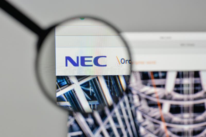 Milaan, Italië - November 1, 2017: NEC embleem op de website homepag royalty-vrije stock fotografie