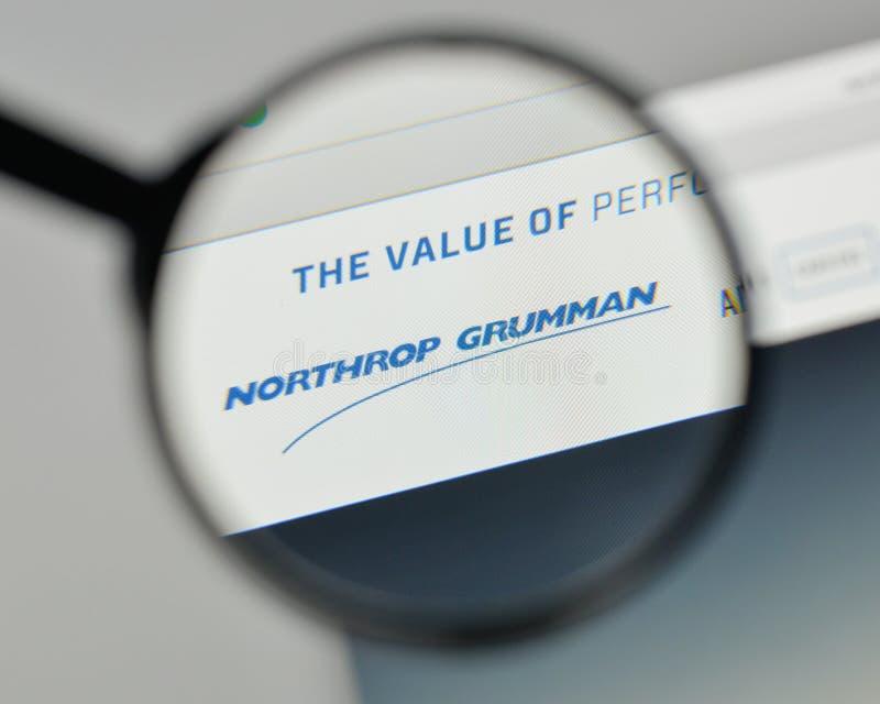 Milaan, Italië - November 1, 2017: Northrop Grumman-embleem op wij stock afbeeldingen