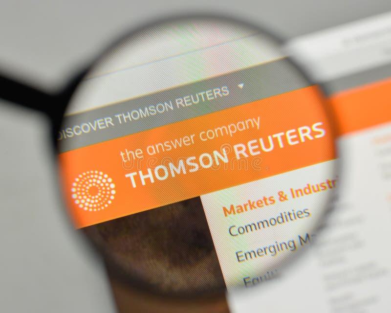 Milaan, Italië - November 1, 2017: Thomson Reuters-embleem op het Web royalty-vrije stock afbeeldingen