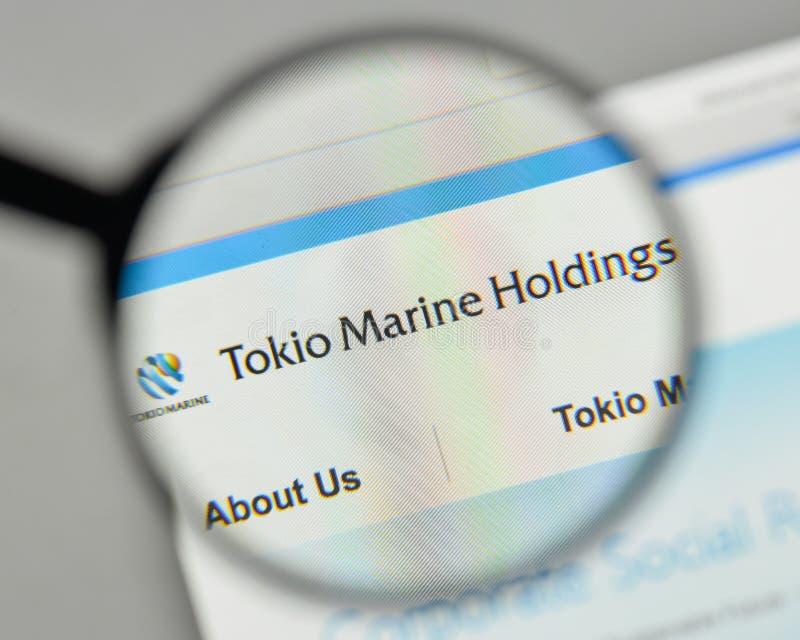 Milaan, Italië - November 1, 2017: Tokio Marine Holdings-embleem op t royalty-vrije stock fotografie